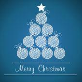 Blue christmas ball tree — Stock Vector