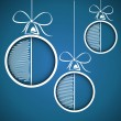 Stock Vector: Blue half scribbled christmas balls
