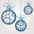 Stock Vector: Blue circle christmas balls