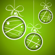 Stock Vector: Green dotted scribbled christmas balls