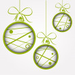 Stock Vector: White green dotted scribbled christmas balls