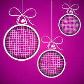 Violet square christmas balls — Stock Vector