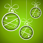 Green dotted scribbled christmas balls — Stock Vector