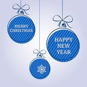 Texto de natal vintage azul 2 — Vetor de Stock