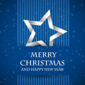 Blue banned christmas card with star — Stock vektor