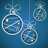 Blue dotted scribbled christmas balls — Stock vektor