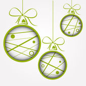 White green dotted scribbled christmas balls — Stock Vector
