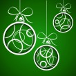 Dark green white circle christmas balls — Stock Vector