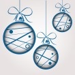 Stock Vector: White blue dotted scribbled christmas balls
