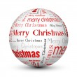 Red merry christmas typographic balls — Stock Vector