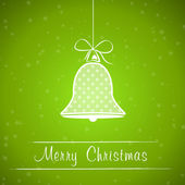 Green dotted christmas bell frame — Vector de stock