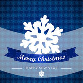 Blue winter background with snowflakes and ribbon — ストックベクタ