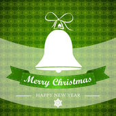 Red christmgreen winter background with bell and ribbon — Vetorial Stock