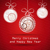 Red merry christmas card with white balls with technical balls — Vetorial Stock