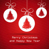 Red merry christmas card with balls with tree — Vetorial Stock