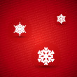 Red merry christmas text card with snowflakes — Stock Vector
