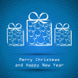 Blue merry christmas card with white ball gifts — Stock Vector