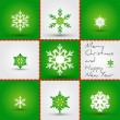 Stock Vector: Green snowflakes square