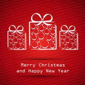 Cartão vermelho de feliz natal com presentes de bola branca — Vetor de Stock