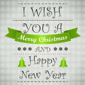 Green wish merry christmas card — Stok Vektör