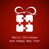 Marco rojo Navidad con regalo puzzle — Vector de stock