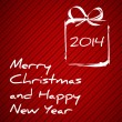 Red christmas card with drawing gift 2014 — Vector de stock