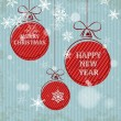 Blue retro christmas card with falling snowflakes and red balls — Stok Vektör