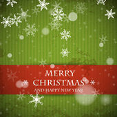 Green striped retro christmas card with falling snowflakes — Stockvektor