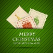 Stock Vector: Green striped christmas card with stamps