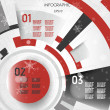 Red christmas technical infographic layout with rings — Stok Vektör #34710303