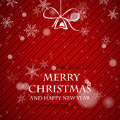Red christmas card teplate with falling snowflakes — Stockvektor
