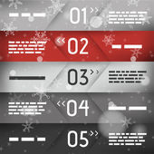 Red christmas infographic five oblique options in middle — Stock Vector