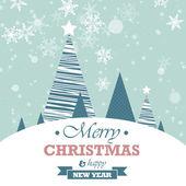 青の立ち下がり雪と木クリスマス風景 — ストックベクタ