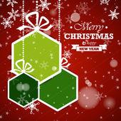 Green hexagonal christmas balls — Stock Vector