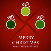 Red christmas card green balls and shadow — Stockvector