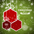 Green striped retro christmas card with red hexagonal balls — Vecteur