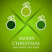 Green christmas card with green balls and shadow — Stock Vector