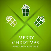 Zielone kartki świąteczne z zielony prezenty — Wektor stockowy