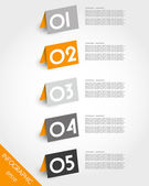 Orange origami oblique standing stickers — Stock Vector