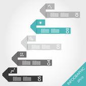 Turquoise infographic origami bent U stickers — Stock Vector