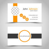 Modern orange business card with  ring icons and stripes — Stock Vector