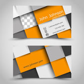 Modern orange business card with squares — Stock Vector