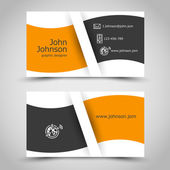 Orange business card with wave — Stock Vector