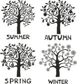 Four seasons - spring, summer, autumn, winter. — Stockvektor