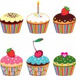 Set of 6 cute cupcakes — Stockvektor