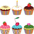 Set of 6 cute cupcakes — Vector de stock