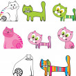 Stock Vector: Cartoon set of cats in different styles