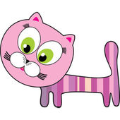 Pink cat isolated on White background. — Stock Vector