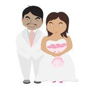 Happy wedding pictures — Stock Vector