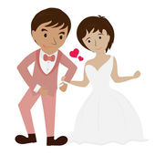 Happy wedding pictures — Stock Vector